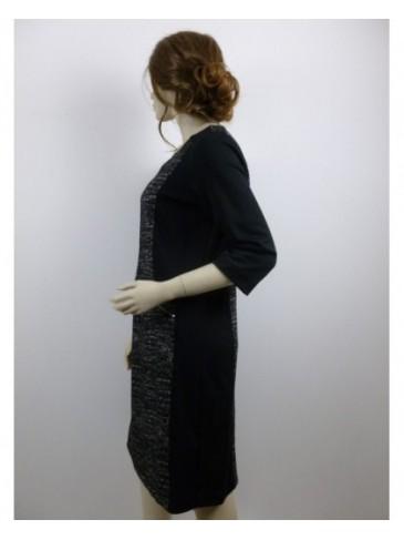 Robe femme Brandex noir imprimé chiné blanc