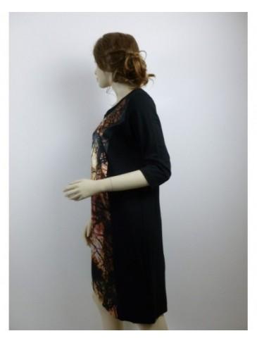 Robe femme Ciso noir imprimé marron GRANDE TAILLE