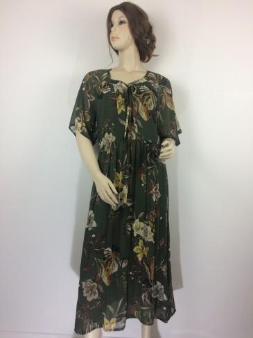 Robe jolie kaki/marron/vert et les fleurs